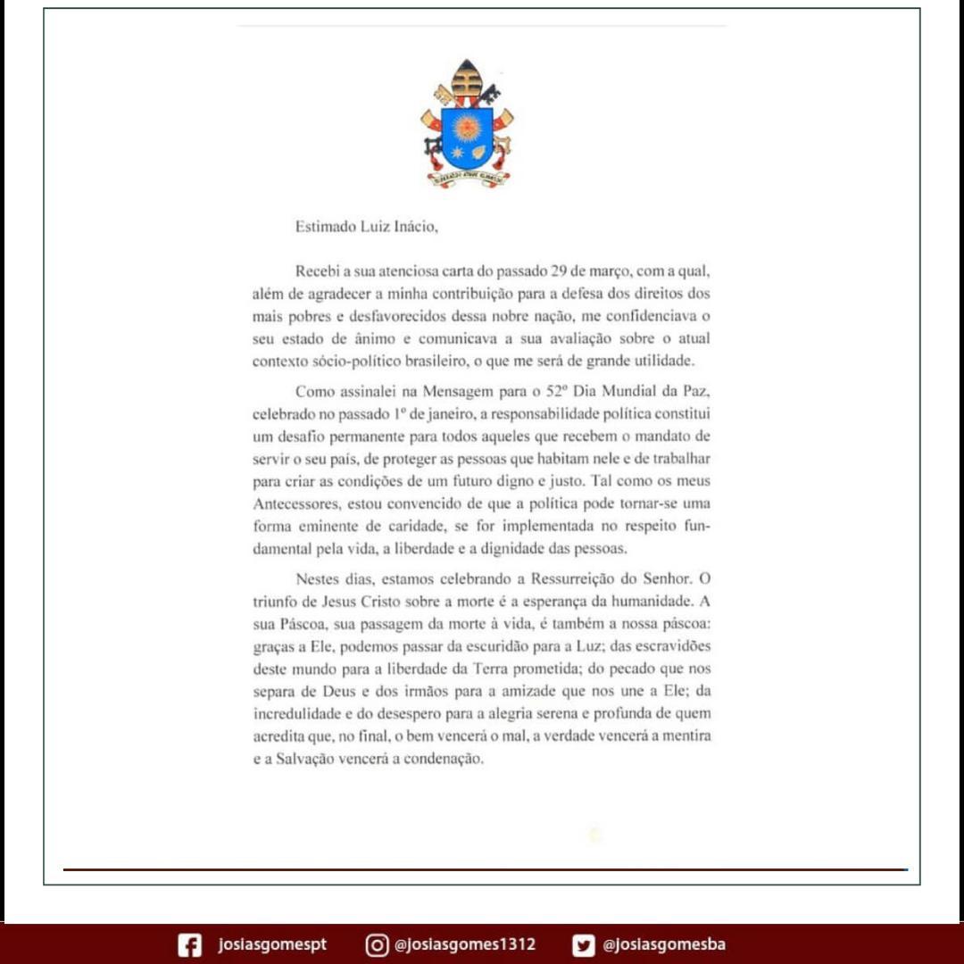 Papa Envia Carta Redentora A Lula!